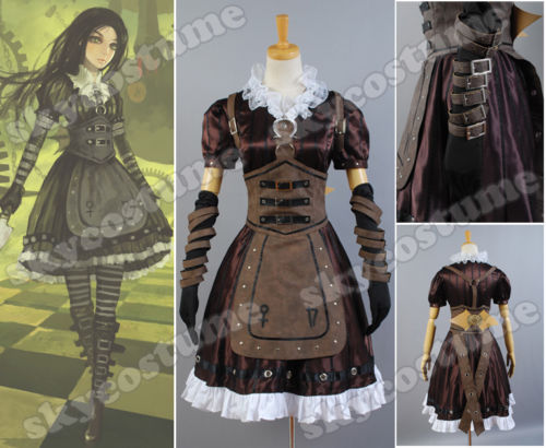 Alice Madness Returns Cosplay Alice Stream Cosplay Halloween Party Dress Costume Full Set Customized Size alice madness returns heroine alice cosplay costume black white striped customized anime uniform
