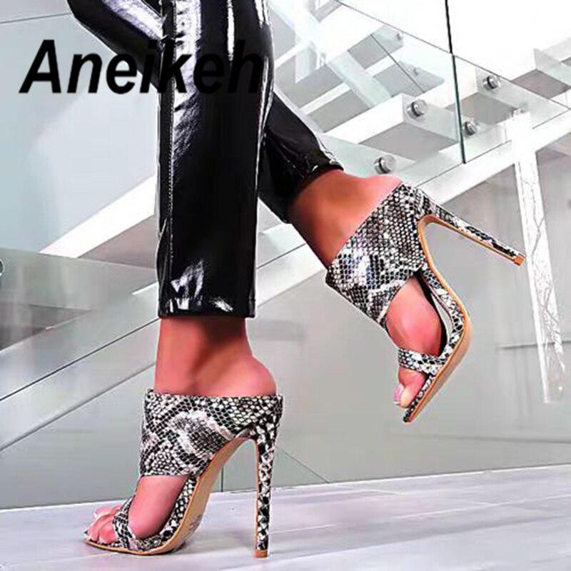 Aneikekh 2019 moda de verano Flock Serpentine zapatillas finas de tacón alto Slip On Round Toe mujeres fiesta negro Serpentine tamaño 35-40 Zapatillas de piel