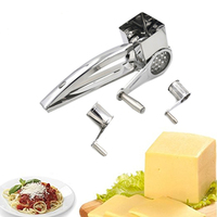 Stainless Steel 3 Drums/Set Rotary Cheese Grater Cheese Slicer Kitchen Cheese Butter Cutter For Cake Chocolate Fondue