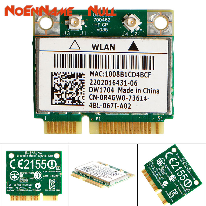 Network Card Wifi Adapter 1pc DW1704 R4GW0 BCM943142HM Wireless WiFi 300Mbps Bluetooth 4.0 MiniPCI-E Card Dropshipping