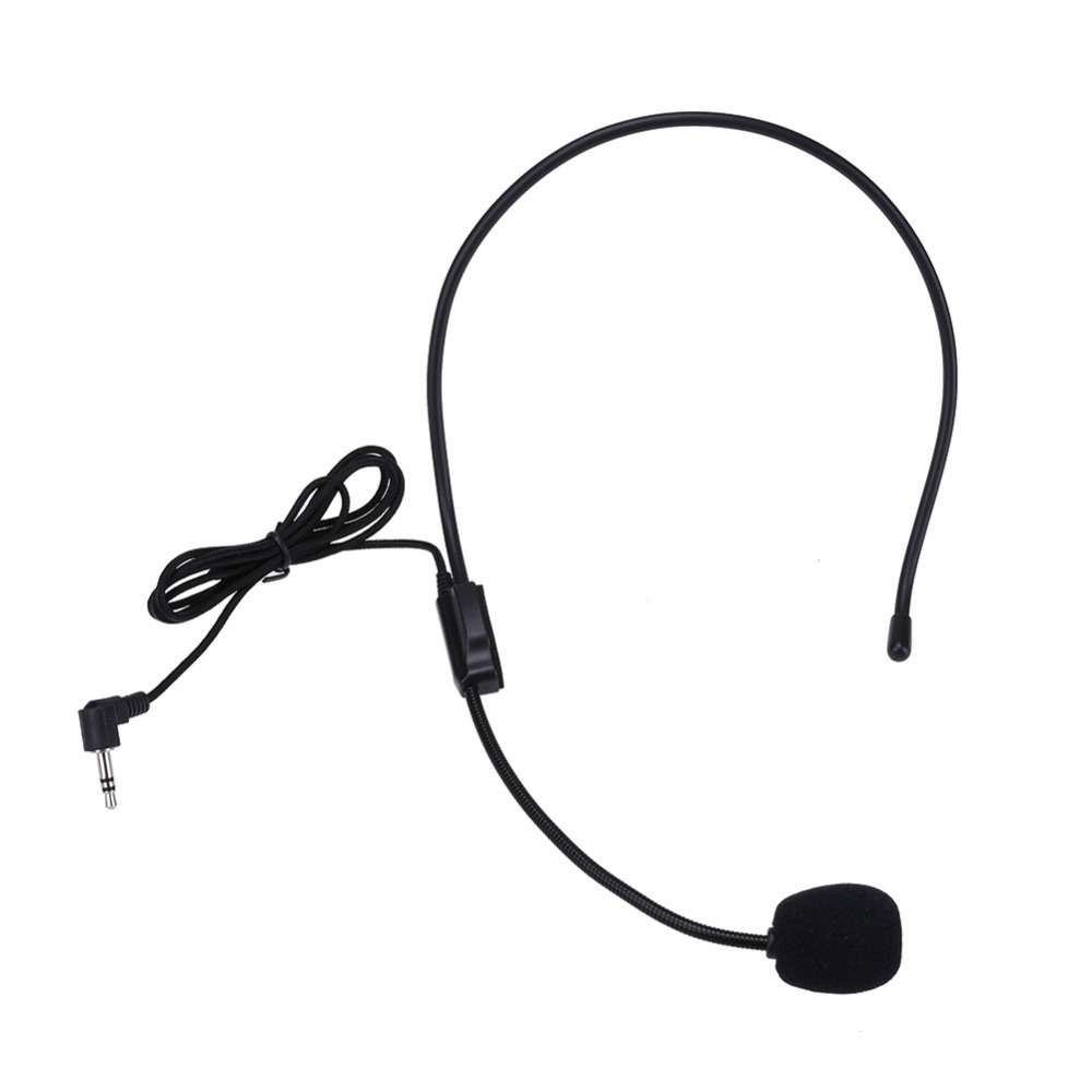 Portable Headset Microphone Wired 3.5mm Jack Condenser with Mic For Loudspeaker For Tour Guide Teaching Lecture Microphone(China)