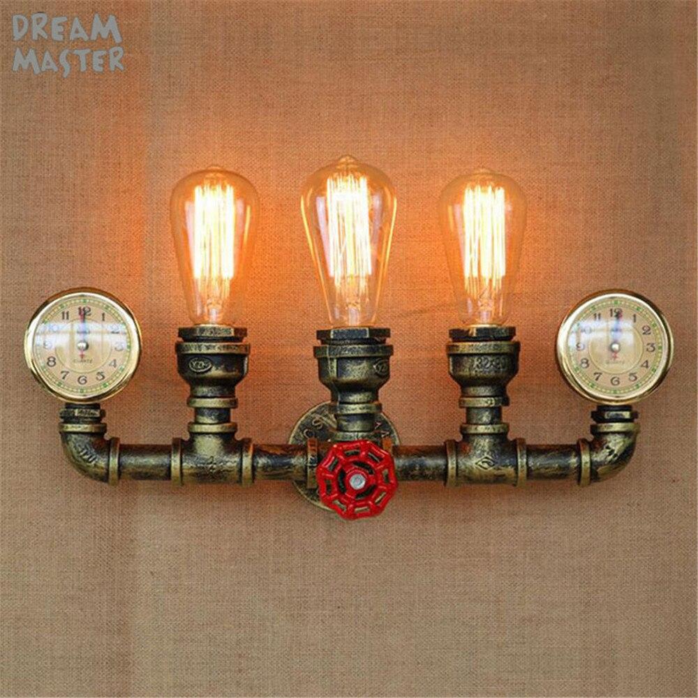 Vintage Industrial Wall Sconce Lights Wandlamp Retro Wall Lamp 110V 220V E27 E26 Indoor clock decorative