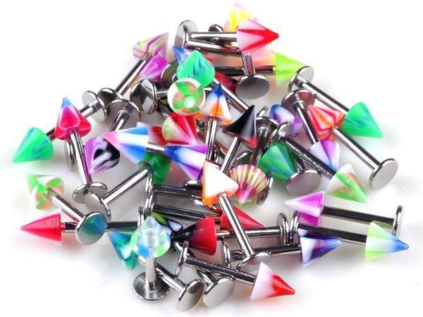 90 adet vücut Piercing takı karışık 9 stilleri Tragus Labret Bar dudak yüzük şık yeni toptan çok Punk Unisex takı