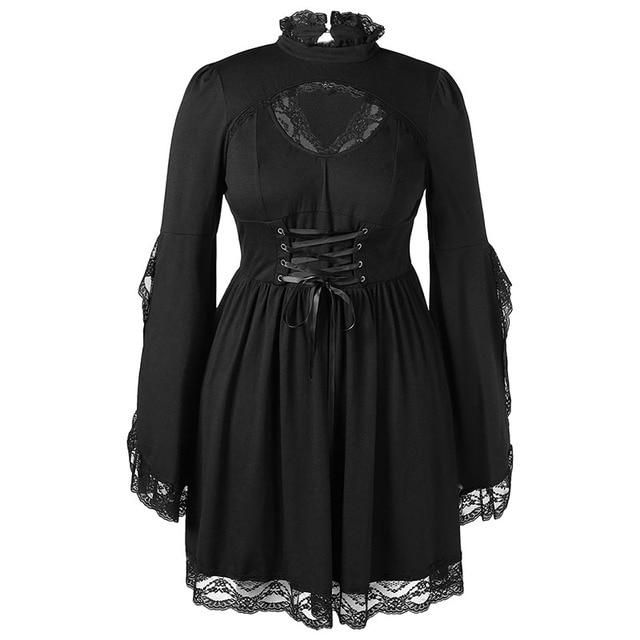 PlusMiss Plus Size Gothic Bell Flare Sleeve Black Lace Party Dresses Women Vintage Retro 50s Sexy Lace Up Dress Big Size Autumn 3