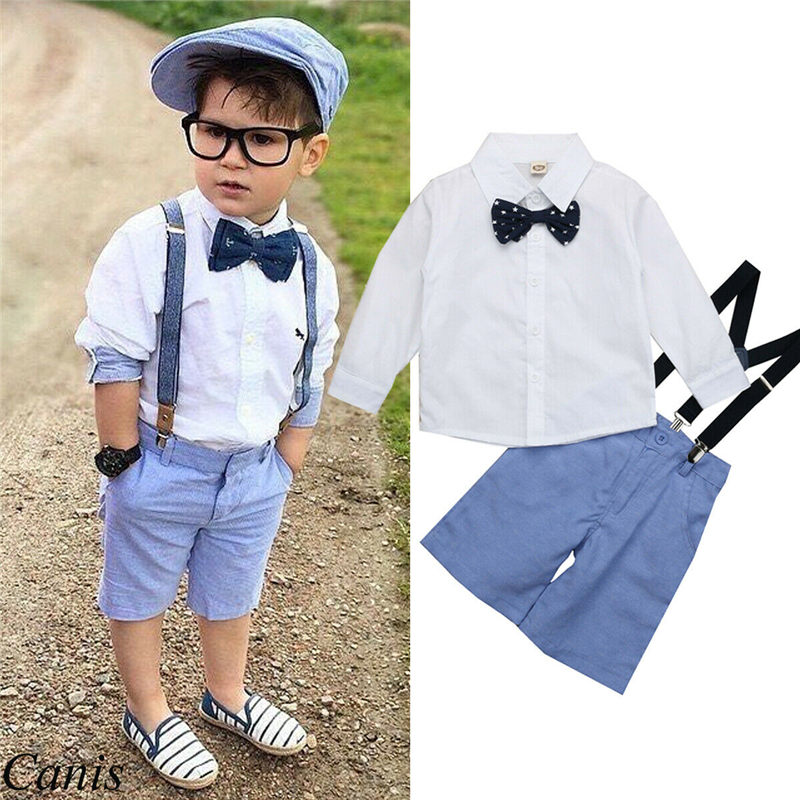 Emmababy Fashion Elegant 2Pcs Toddler Kid Baby Boy Gentleman Outfit Suits Shirt+Overall Bib Pants+Bow Tie Boys Clothing Set