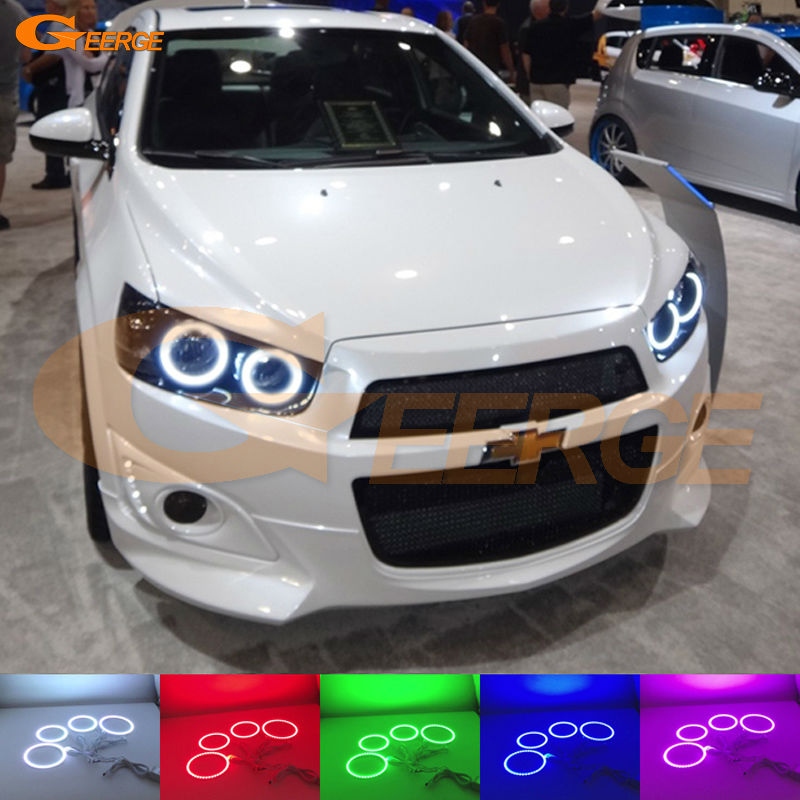 цена на For Chevrolet AVEO Sonic T300 2011 2012 2013 2014 Excellent Angel Eyes kit Multi-Color Ultrabright RGB LED Angel Eyes Halo Rings