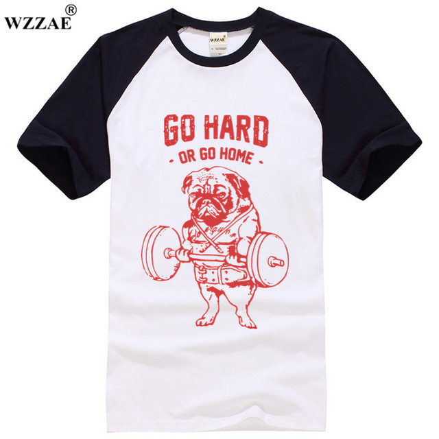 93a82c652916c 2018 New Fitness Dog Printed T Shirt Men Train Hard Or Go Home Cotton  Casual T-Shirt Sportswear Man's Clothing Animal Top Tees