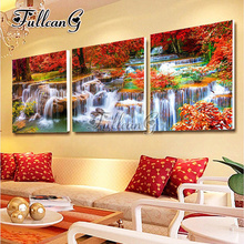 FULLCANG diy triptych diamond painting natural scenery waterfall 3 pieces mosaic cross stitch 5d embroidery full drill G1296