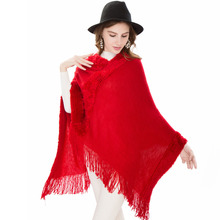 2018 High Quality Solid Faux Fur Scarves Women Warm Soft Cashmere Poncho Tassel Shawls Capes Winter Pashmina Femme Clothing
