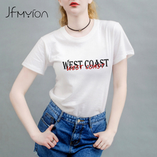 Newest Funny WEST COAST Design Printed T-Shirt Summer Womens Letters Novelty Hipster Cool Short Sleeve Tee Tops Round Neck 2017
