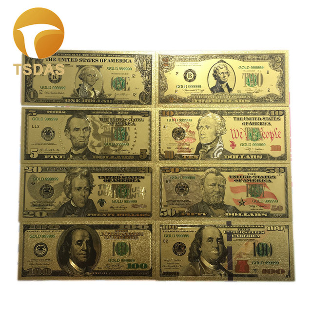 Usa Gold Banknote Set 8pcs Lot Colored 1 100 Dollar 24k Foil Fake Money Collection Business Gift