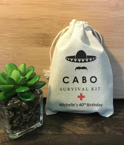 Cabo San Lucas Mexico Birthday Wedding Favor Bags Bridesmaid Bachelorette Hangover Recovery Survival Kit Party Candy Pouches In Gift Wrapping