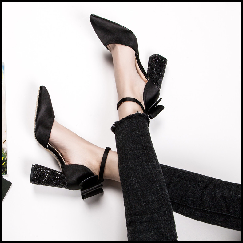 Novedad de 2019 zapatos de tacón alto para mujer de color negro para novia de buena calidad-in Zapatos de tacón de mujer from zapatos    1
