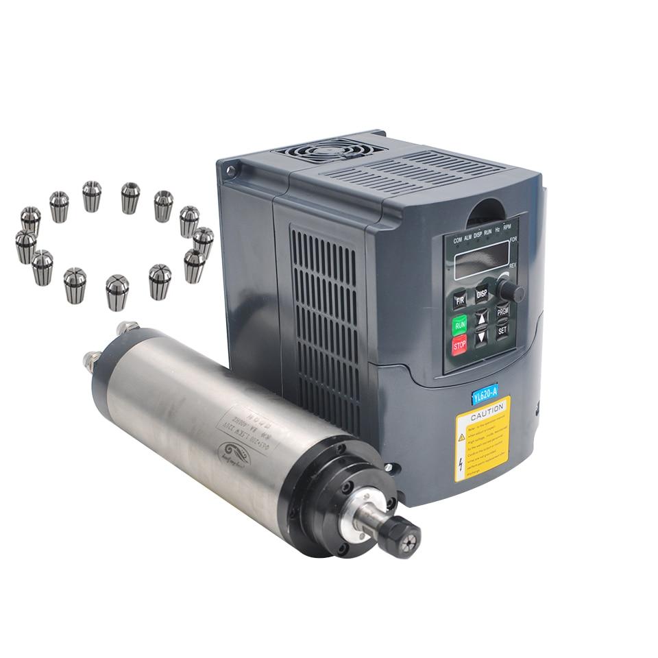 CNC Mandrino 1.5KW Raffreddato Ad Acqua del Mandrino 65 MILLIMETRI di Fresatura Motore 220 V VFD Inverter Convertitore Con 13 pcs ER11 Pinza mandrino Per Incisore