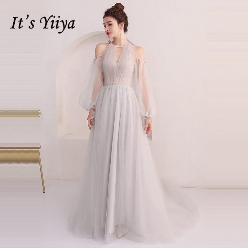 C'est Yiiya robes de soirée à manches longues 2018 gris Sexy Illusion longueur de plancher Tulle mode robe de soirée robe de soirée LX916