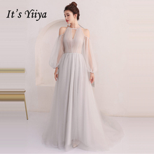 It's Yiiya Evening Dresses Long Sleeve 2018 Gray Sexy Illusion Floor Length Tulle Fashion Evening Dress Party Gown LX916