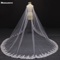 Real Photos Bling Sequins Lace Vintage 3 Meters Wedding Veil Without Comb Beautiful Bridal Veil