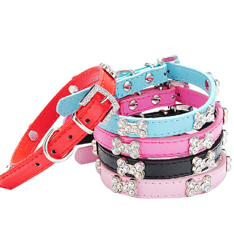 Small Pet Cat Dog Collar Bling Crystal collar With Bone Necklace puppy party jewelry supply drop ship sale