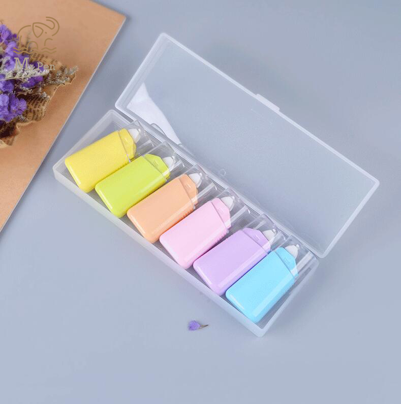 6pcs/Set Macaron Color White Correction Correcting Tape With Box Stationery Corrector Student Gifts School Office Supplies