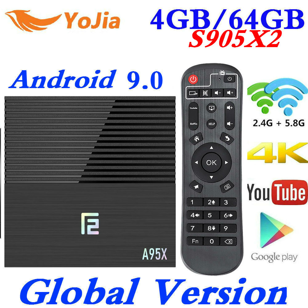 A95x F2 Android 9.0 Smart TV Box 4GB RAM 64GB Amlogic S905X2 Dual Wifi 4K Google Store Netflix Youtube PK X96 MAX Media Player