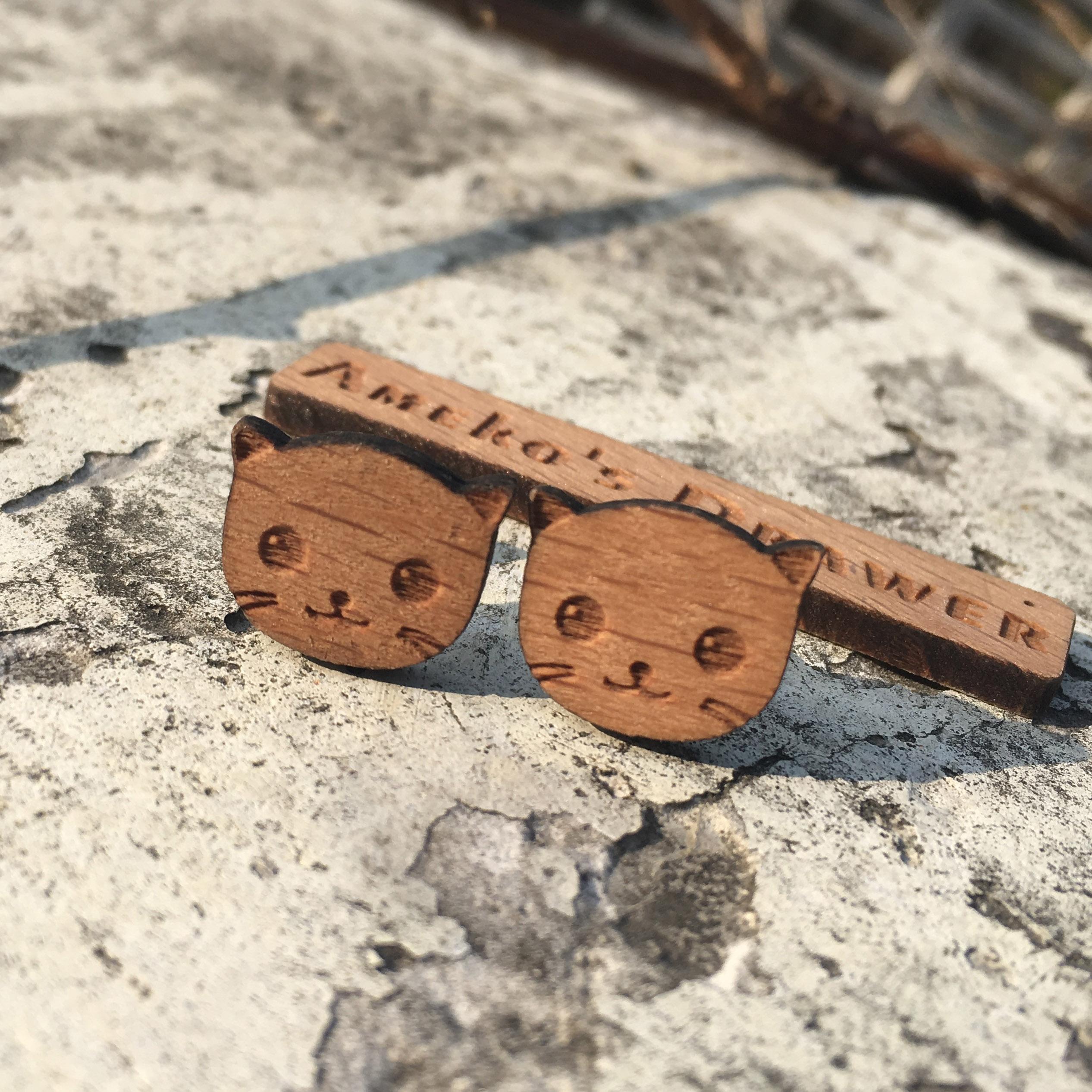 Cute Cat Earring Laser Engraved Earrings Kitty Stud Animal Wooden Earring Stud Handmade Jewelry X 1