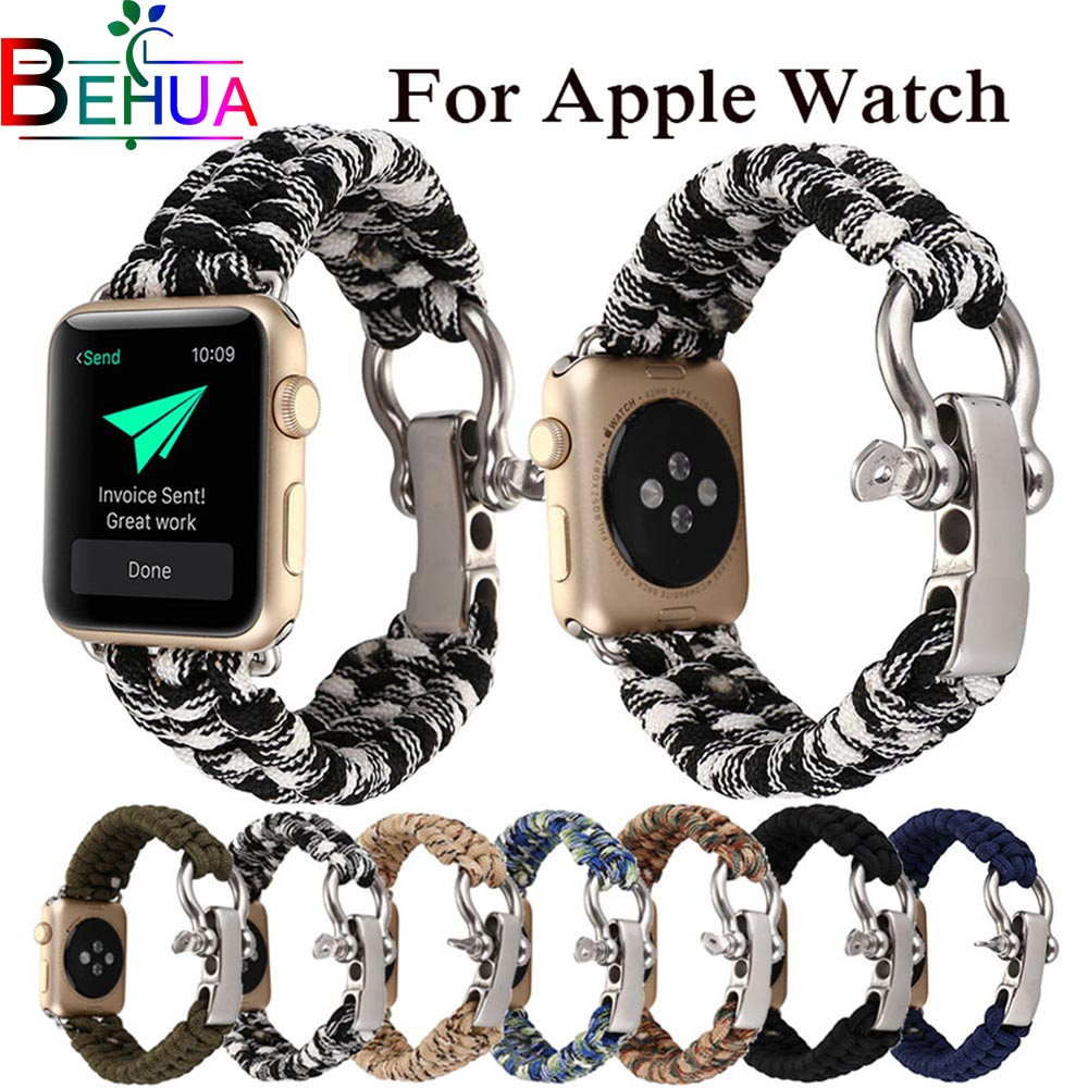 Braided nylon strap for Apple watch band 38mm 40mm 42mm 44mm Outdoor Strap Whistle Multifunction for iwatch 3/2/1 watchbandsBraided nylon strap for Apple watch band 38mm 40mm 42mm 44mm Outdoor Strap Whistle Multifunction for iwatch 3/2/1 watchbands