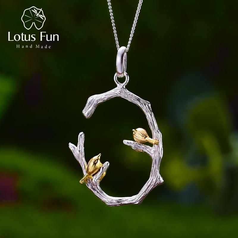 Lotus Fun реальные 925 Серебро Природный оригинальный ручной Fine Jewelry Птица на ветке кулон без ожерелье для женщин