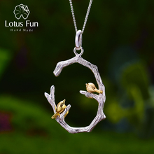Lotus Fun Real 925 Sterling Silver Natural Christmas Fine Jewelry 18K Gold Bird on Branch Pendant without Necklace for Women
