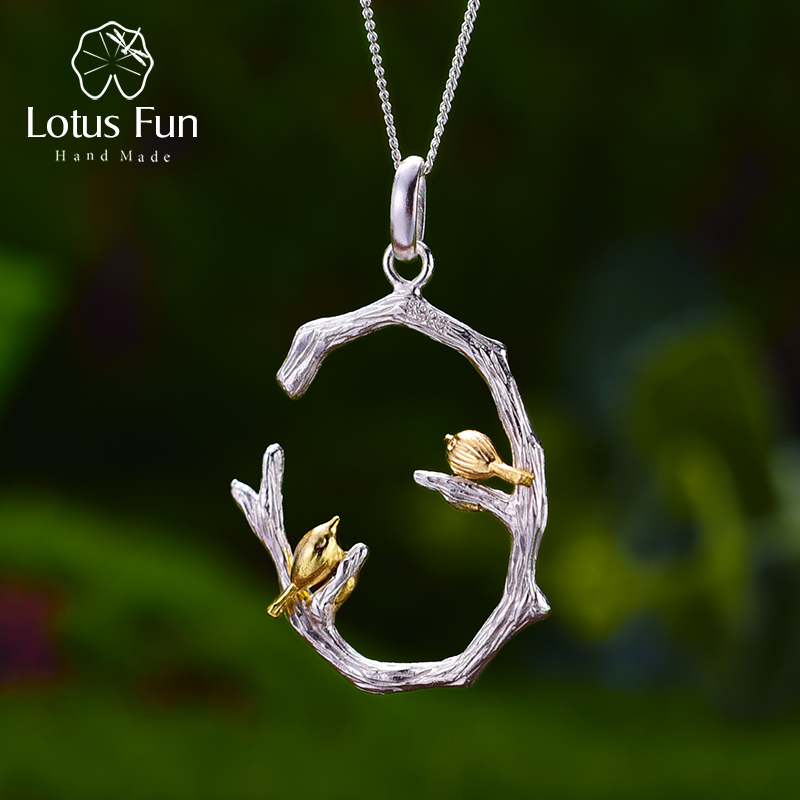 Lotus Fun Real 925 Sterling Silver Natural Original Fine Jewelry 18K Gold Bird on Branch Pendant without Necklace for Women Gift