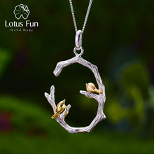 Lotus fun real 925 prata esterlina natural original jóias finas 18 k ouro pássaro no ramo pingente sem colar para presente feminino(China)