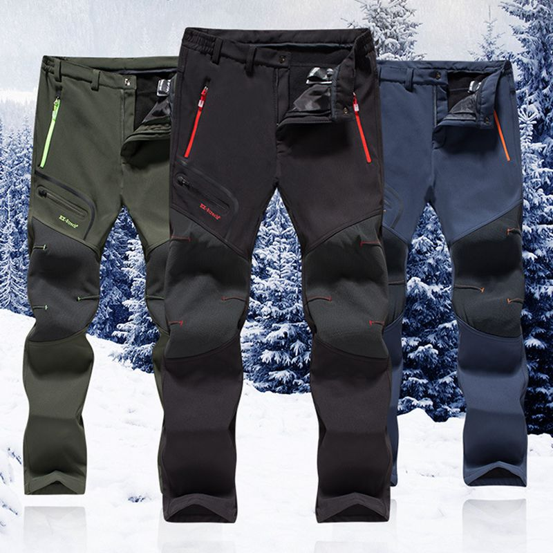 Men's Winter Pants Soft Shell Army Military Pants Tactical Cargo Pants Windproof Waterproof Warm Camo Army Fleece Pants