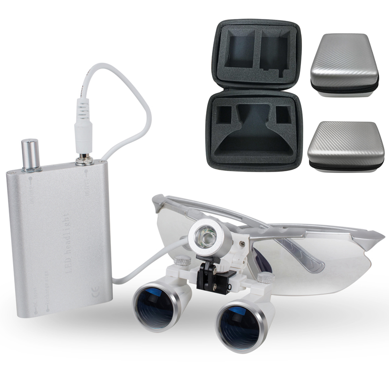Silver magnifying glass 3.5X420 Medical Surgical loupes Dental Loupes medical loupes head loupes with LED light+Carry Case ultra light 3 5x medical magnifying glass surgical loupes dental loupes medical loupes with led light fd 503 g 1