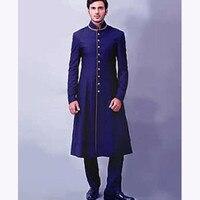 Latest Coat Pant Designs 2018 dark Bule Mens Suits Custom Made Fashion Heren Pakken Swallow Tailed Coat men Suit (Jacket+Pant)