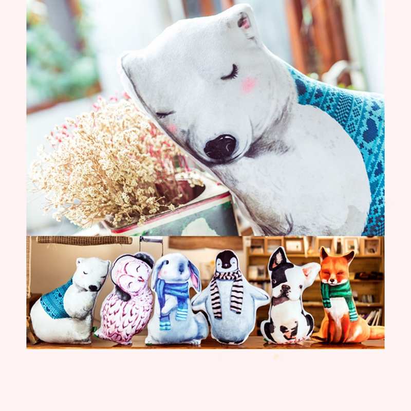 1pc Cartoon Animal Plush Pillow Polar bear Owl Rabbit Penguin Dog Red Fox Stuffed Animal Toys Sofa Cushion Cute Creative Gift hot sale cute dolls 60cm oblong animals pillow panda stuffed nanoparticle elephant plush toys rabbit cushion birthday gift