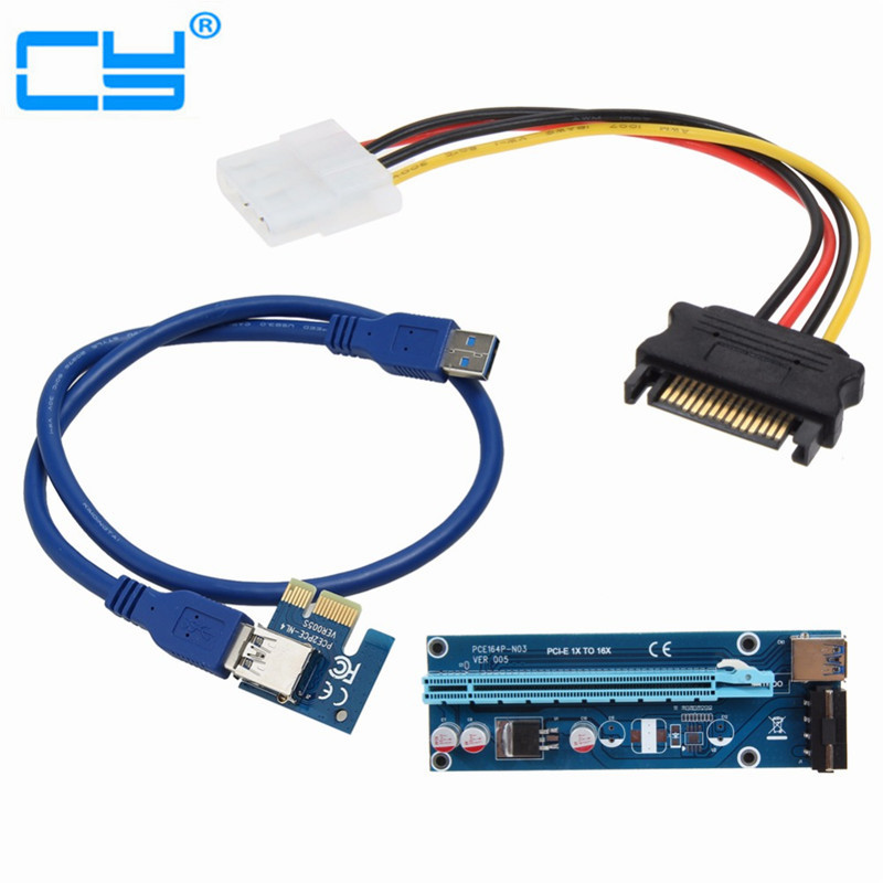 1408a83ffed 100PC PCIe PCI-E PCI Express Riser Card 1x to 16x USB 3.0 Data Cable SATA  to 4Pin IDE Molex Power Supply for BTC Miner Machine