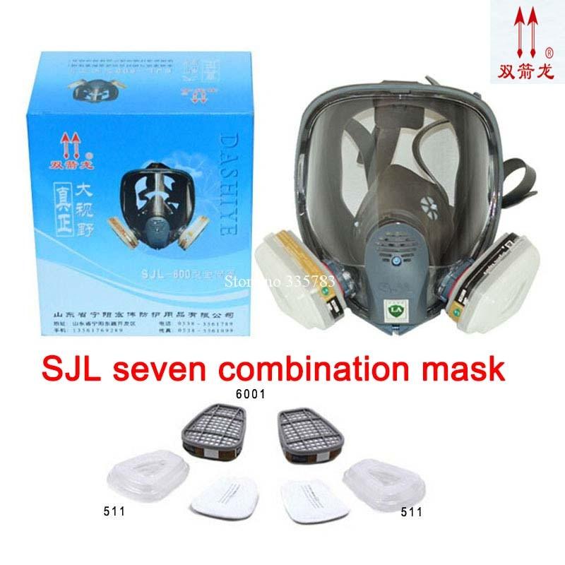 SJL Safety Full Face Gas Mask 7 Suits Anti-dust Paint Organic Vapor Cartridge Reusable Filter respirators Protective 3m 6700 6003 full face mask reusable respirator filter mask anti organic vapor acid gas 7 items for 1 set lt095