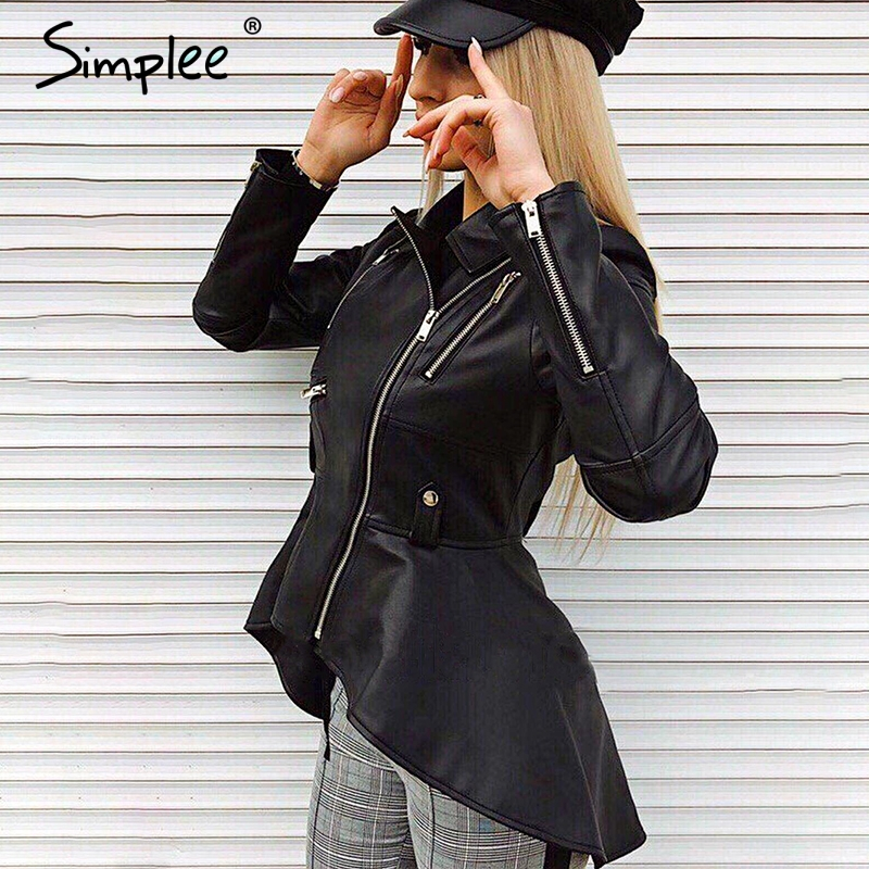 Simplee Leather suede faux leather jacket Zipper cool jacket Streetwear black PU jackets Autumn winter 2019 women coat