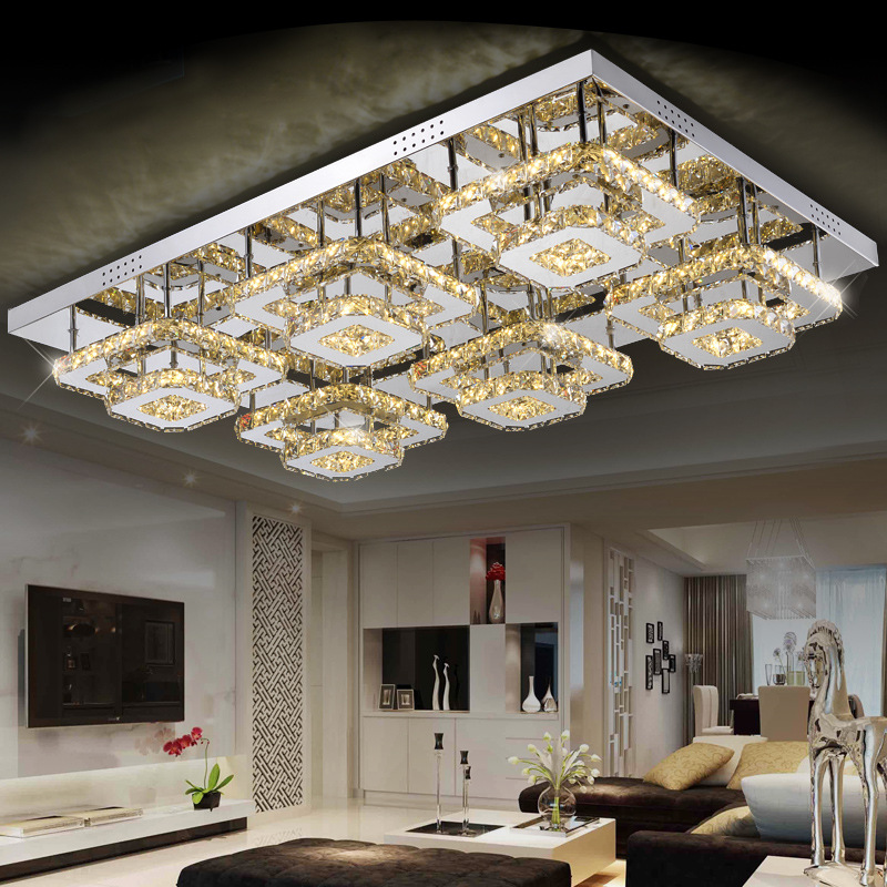 modern led Crystal Ceiling lights 2 4 6 head lampen kristal living dining room bedroom lamp deckenleuchten de cristal lighting noosion modern led ceiling lamp for bedroom room black and white color with crystal plafon techo iluminacion lustre de plafond