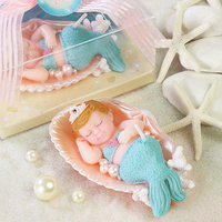 Creative Cute Mermaid Sleep Shape Art Cake Candle For Wedding Party Baby Birthday Party Decor Candles