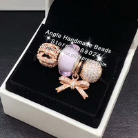 19492a4aed72 4pcs Rose Gold Jewelry Set Pink Murano Glass Bow Tie CZ Dangle Charms Beads  Fit DIY