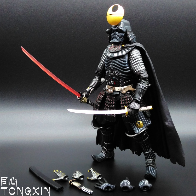 The Black KnightS Star Wars Lightsaber With 7 White Soldiers Mezco Toys Model