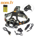 Boruit RJ-5001 3* XM-L L2 LED 10000LM Headlamp USB Rechargeable Led Head Light Lamp+ Car Charger/+USB Cable + 2x 18650 battery