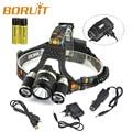 Boruit RJ-5001 3* XM-L L2 LED 10000LM Headlamp USB Rechargeable Led Head Light Lamp+ Car Charger/+USB Cable + 2x 18650 battery