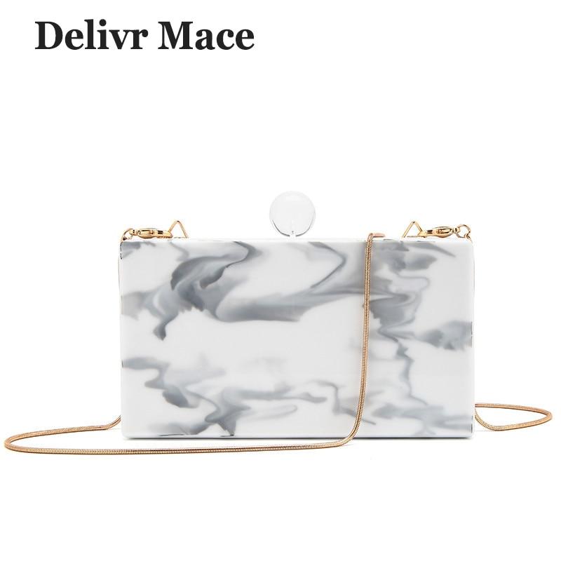 Mode sac à bandoulière femme marbre lignes acrylique matériel femmes bandoulière rabat sacs 2018 plus récent blanc femmes fête pochette