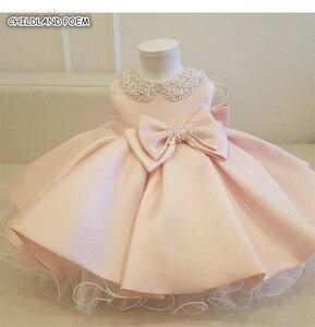 Платья для маленьких девочек на вечеринку и свадьбу, бальное платье из тюля с бантом и бусинами для маленьких девочек на крестины, 1 день рож...