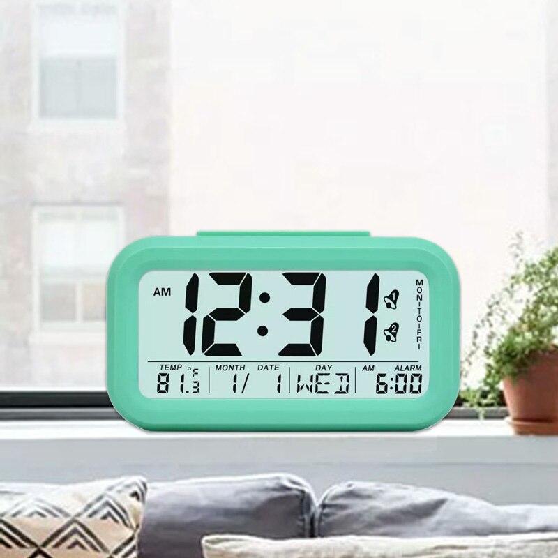 TXL reloj de alarma inteligente estudiante mes fecha pantalla LCD sensor de luz siesta escritorio reloj los niños reloj de Mesa de color a 4