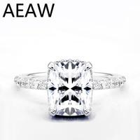 AEAW Moissanite Ring Center 4ct 8X10MM FG Color Moissanite Diamond 14K 585 White Gold Engagement Ring for Women Gift