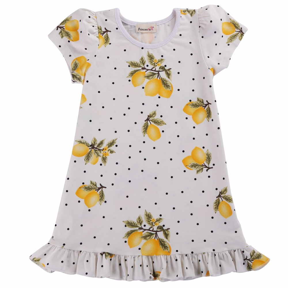 Summer Girls Dress Kids Flower Dresses Children Cotton Short Sleeve Baby Girls Clothes;Cute Lemon Kids Dress For Girl Vestidos