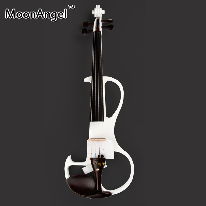 Elektro Violine 4/4 White Wooden Musical Instruments Good Quality Brazilian Wood Bow Stringed Instrument electric violin 4/4 free shipping 4 4 size 430c pernambuco cello bow high quality ebony frog with shield pattern white hair violin parts accessories