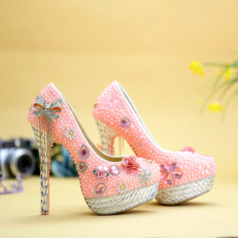 Plataformas Mujer Lady Shoes Rhinestone High Heels Pink Wedding Shoes Woman Bride Crystal Shoes Evening Banquet Women's Pumps new pink red rhinestone diamond bride s shoes super high heels crystal bowl wedding shoes elegant sandals female pumps feminina